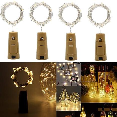 Botellas de Luces,200CM 20X Micro LED,Alimentadas por batería,Cable de plata