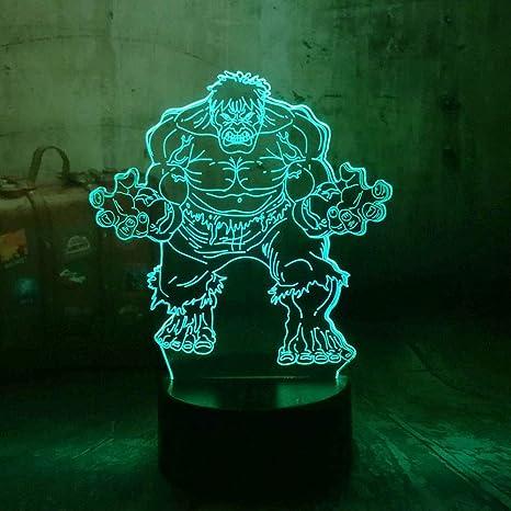 Marvel The Avengers Superhero Minifigures The Hulk 3D LED RGB 7 Color  Change Night Light Color Desk Baby Sleep Lamp Boy Kid Gift (Hulk)