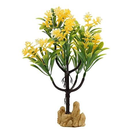 sourcing map Sourcingmap® Planta De Plástico Amarillo De Las Flores del Árbol De Peces De