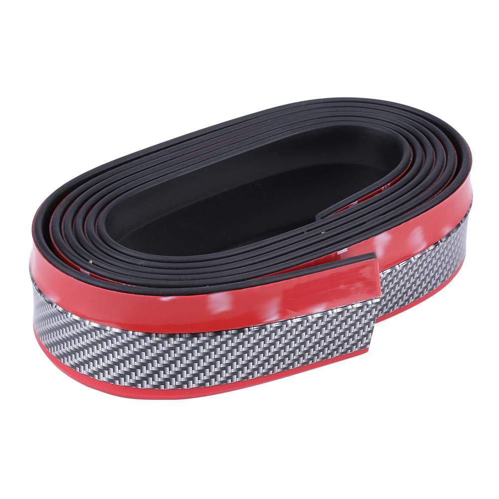 Acouto 2.5 Meter Car Prevent Collision Front Bumper Lip PU Soft Rubber Universal Protector Rubber Spoiler Carbon Fiber