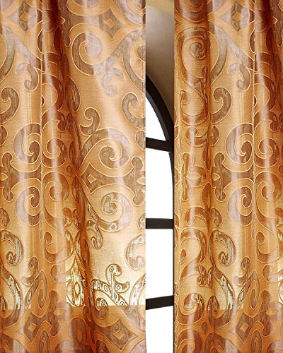 Rustic gold damascan scroll silk sheer curtain rod pocket panel (52