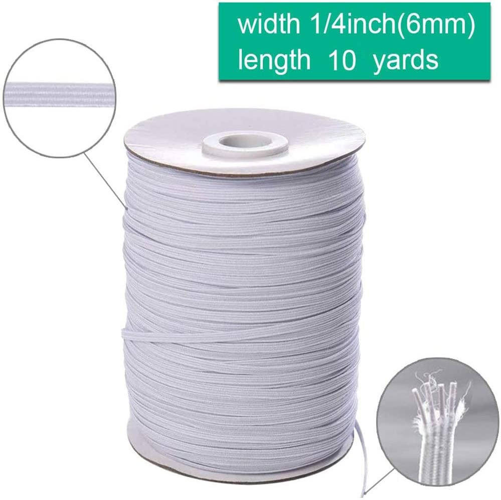 White, 10Yards 10 Yards Length 1//4 Width Elastic Cord Elastic Band Elastic Rope Bungee White Heavy Stretch Knit Elastic Spool DIY Mask 6mm