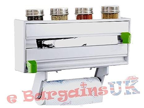 LIVIVO® Dispensador para rollo de papel de cocina, papel de aluminio y papel film