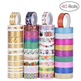 NUOLUX Washi Masking Tape Set of 40,Multi-pattern Decorative Adhesive Tape for Scrapbook DIY Craft Gift Wrapping Collection, 3m x 15mm