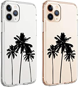 uCOLOR Case for iPhone 11 Pro Thin Slim Hybrid Case Hard PC with Soft TPU Bumper Anti-Scratch Protective Crystal Clear Case Designed for iPhone 11 Pro 5.8 inch 2019 Release (Palm Tree)