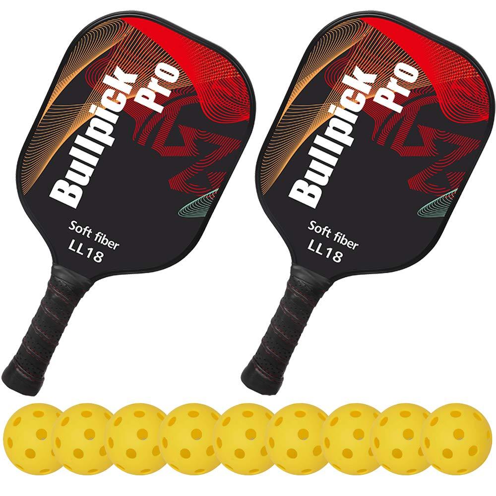 bullpickpro Pickleballパドルsets-compositeファイバー面、PP Honeycomb Core Pickleballラケット、軽量エッジガードBalanced Pickleball Rackets with 9インドアPickleballs B07FCDSDB9 レッド レッド