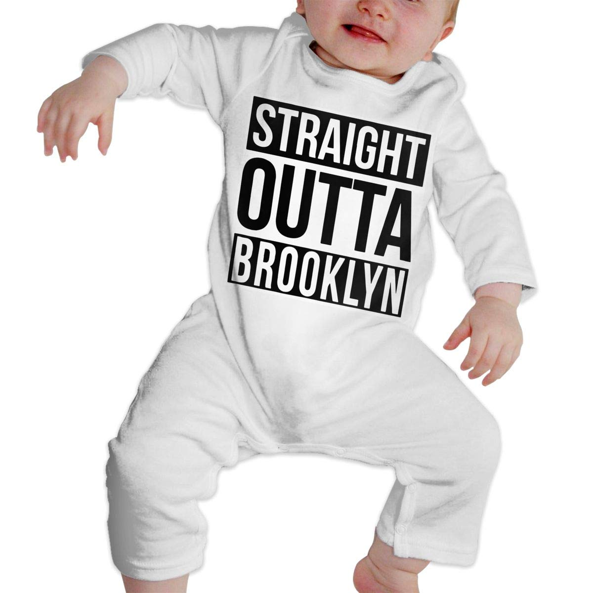 A1BY-5US Infant Baby Girls Cotton Long Sleeve Straight Outta Brooklyn Baby Clothes One-Piece Romper Clothes