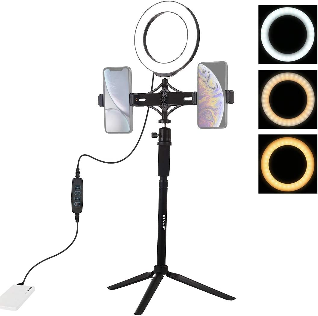 JBAG 6.2 Inch LED Ring Light Photo Studio Camera Light Photography Dimmable Video Light for YouTube Makeup Selfie with Tripod Live Broadcast Dual Phone Bracket