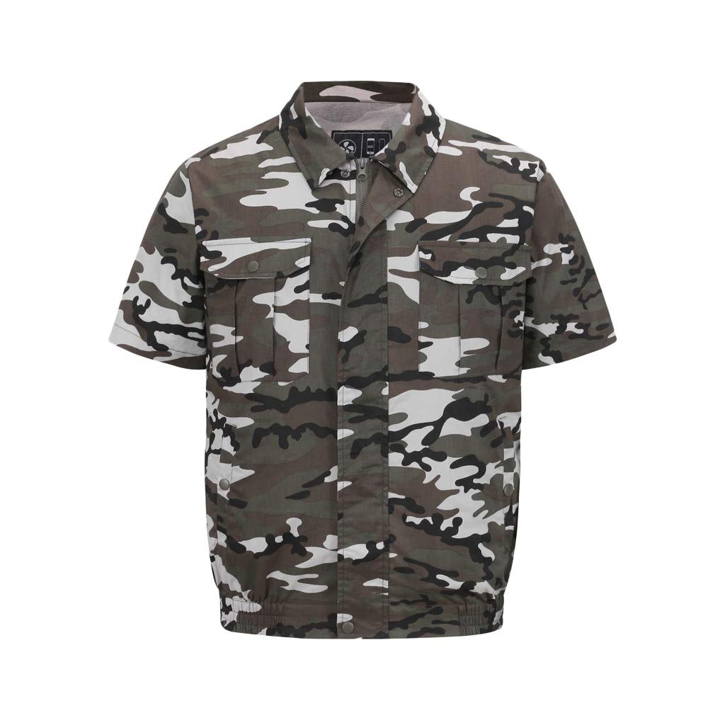 Yihaojia Men Blouse Workwear Equipped Cooling Jacket Fan Camouflage Short Sleeve Work Preventing Sunstroke by Yihaojia Men Blouse
