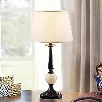 Amerikanische Studie Lampe Schlafzimmer Nachttischlampe Einfache Dekorative  Tischlampe Eisen Landhausstil E27 (Farbe : Dimmable)