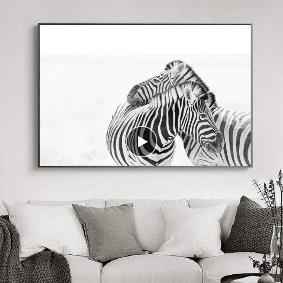 Danjiao Negro Blanco África Pareja Animales Cebra Pinturas Sobre Lienzo Animales Caballo Carteles Impresiones Cuadros De Pared Sala De Estar Decoración Del Hogar Decor Del Dormitorio 40x60cm