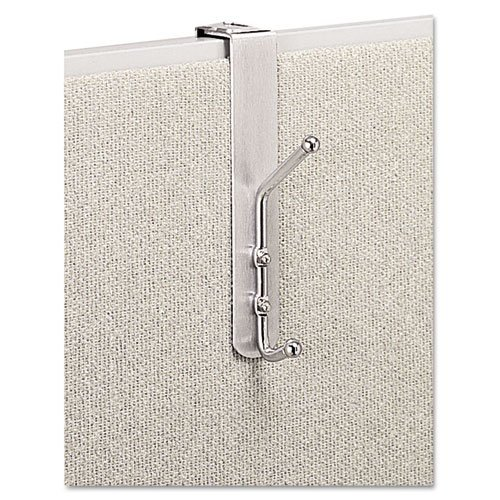 SAFCO PRODUCTS 4167 Over-The-Panel Double-Garment Hook, Satin Aluminum/Chrome by Safco by Safco