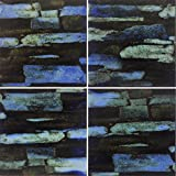 5 SF 6x6 Azurite Blue Stone Pattern Tile for Wall Spa Swimming Pool Shower Kitchen Countertop Bathroom Sink Backsplash (5 Square Feet)