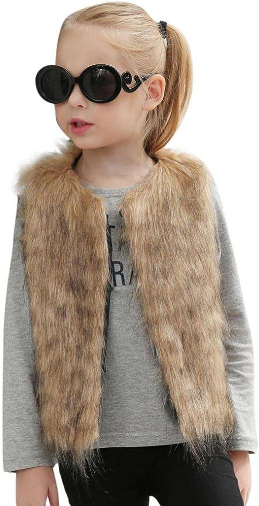 Baby Girls Faux Fur Vest Coat Kids Autumn Winter Thick Warm Outwear Cute Waistcoat: Clothing