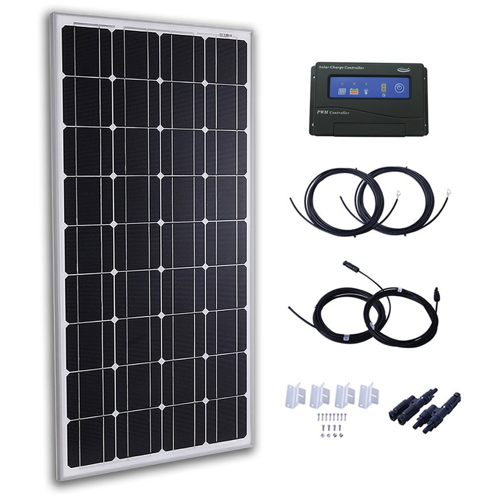 Komaes 100 Watts 12 Volts Monocrystalline Solar Panel In Parallel Wiring Panels Free Download Diagrams Kit With 20a Pwm Charge Controller 20ft Tray Cable Mc4 Connectors Mounting Z