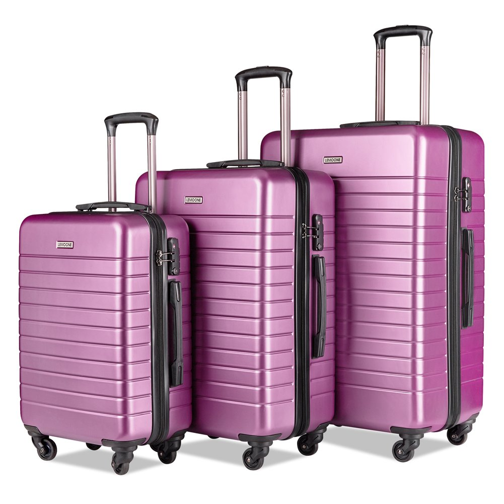Luggage Set Suitcase Set 3 Piece Lightweight Hard Case Luggage with 4 Rolling Spinner Wheels TSA Locks Suitcase for Women and Men (20 inch, 24 inch, 28 inch)(Dark pink) by LEMOONE