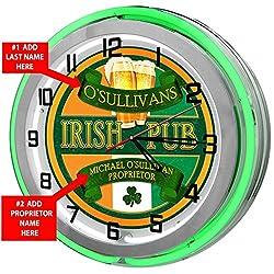 Redeye Laserworks Irish Pub Personalized 18 Green Double Neon Clock from