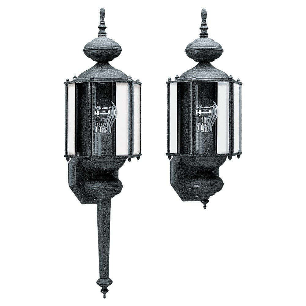 Sea gull lighting 8510 12 outdoor wall lantern one light with sea gull lighting 8510 12 outdoor wall lantern one light with clear beveled glass black wall porch lights amazon aloadofball Images