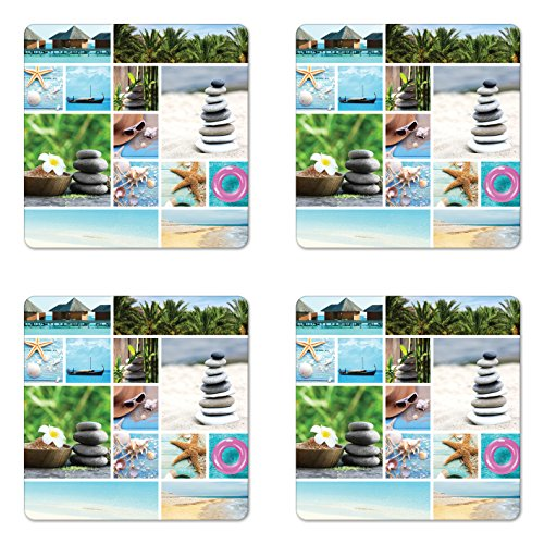 Ambesonne Spa Coaster Set of 4, Collage of Spa Composition with Tropical Sandy Beach Ocean Rock Views Relax Rest Image, Square Hardboard Gloss Coasters for Drinks, Multicolor