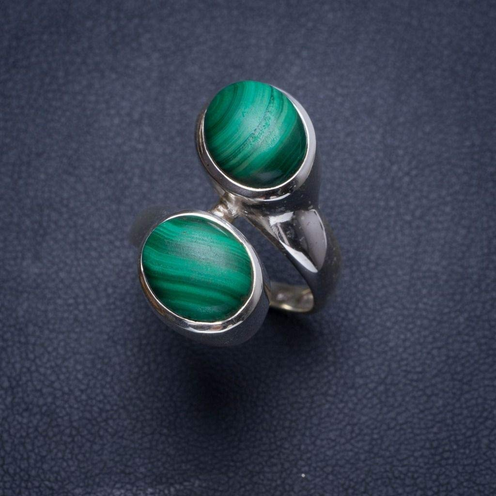 Natural Malachite Handmade Unique 925 Sterling Silver Ring 6.75 Y4006