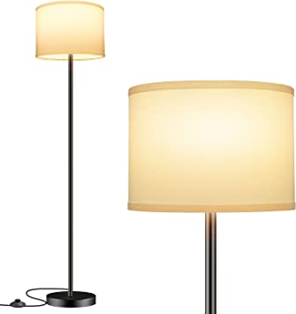 Thickened Tall Pole Lamp for Office with Button and Floor Switch Modern Standing Lamp with Hanging Shade Floor Lamp with 2 Lampshades