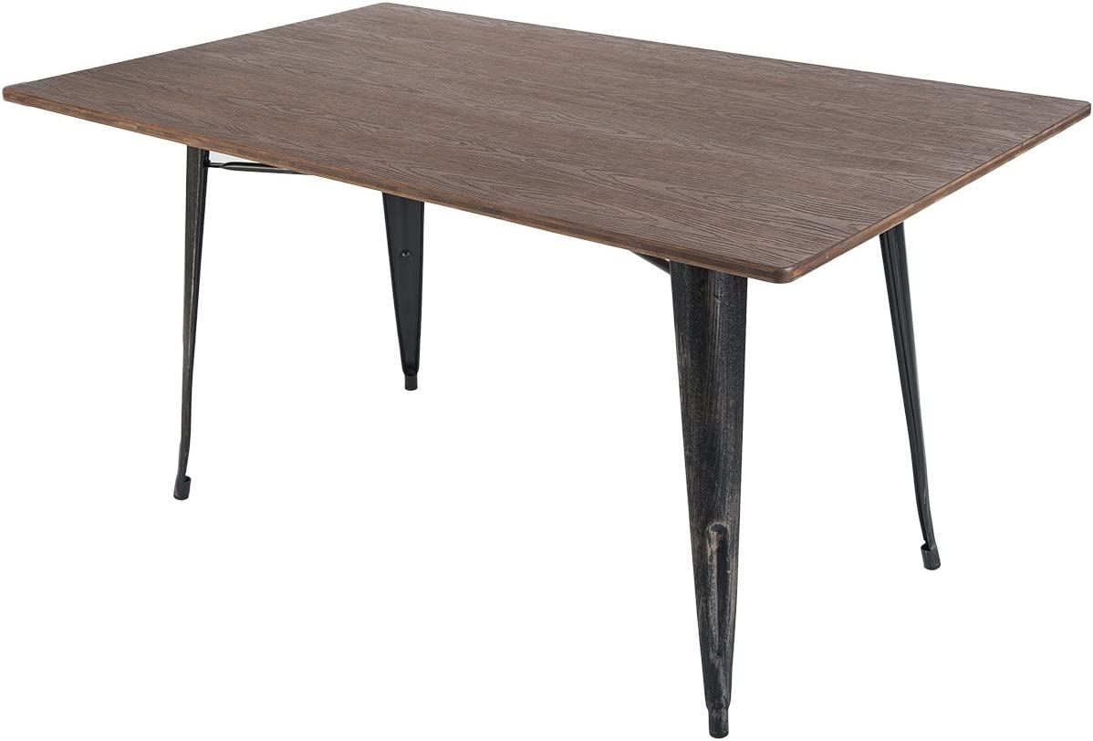 EiioX Dining Table with Metal Legs, Antique Style Rectangular Desk for Livingroom Coffee Bar etc, Distressed Black