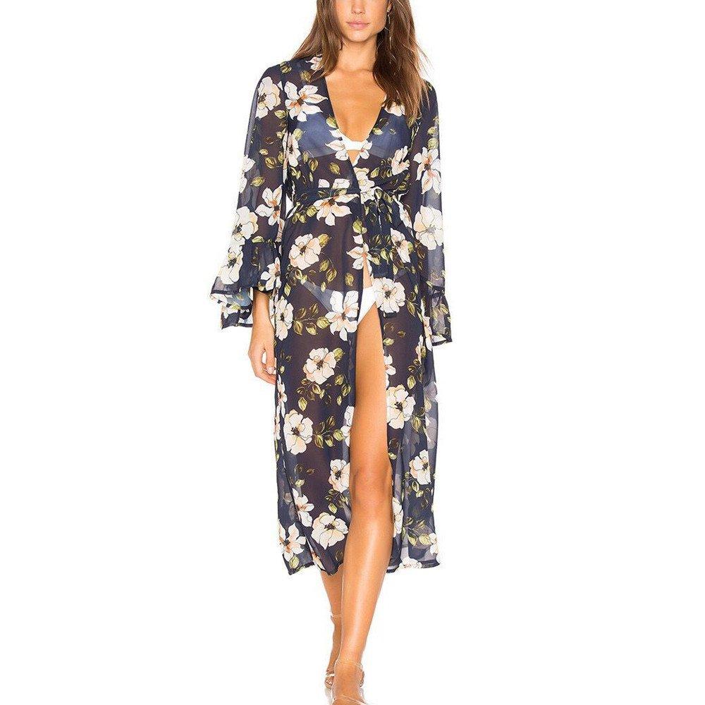 b3fd9097b Women Bathing Suit Cover Ups Floral Kimono Duster Cardigan Maxi Beach Dress Plus  Size Swimwear Kaftan at Amazon Women's Clothing store: