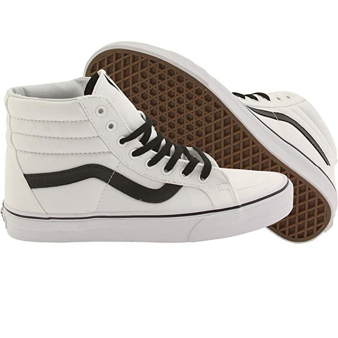 Vans Sk8-Hi High Top Sneaker Damen Herren Kinder Unisex Weiß mit Schwarzen Streifen