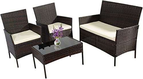 4 Pieces Outdoor Patio Furniture Set All-Weather Wicker Rattan Loveseat and Chairs Sofa Set