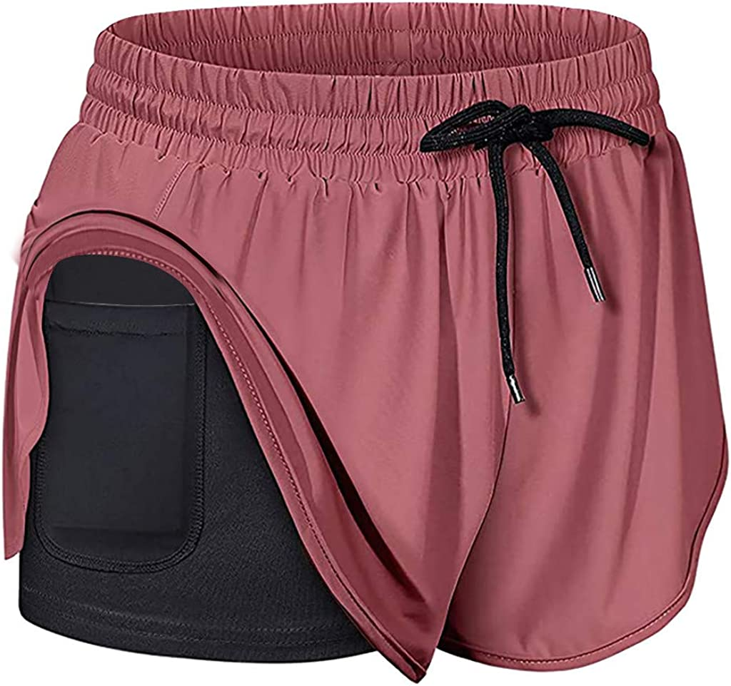 2 in 1 Sports Workout Tennis Cycling Shorts DEATU Women Drawstring Athletic Running Yoga Shorts with Liner Inner Pocket
