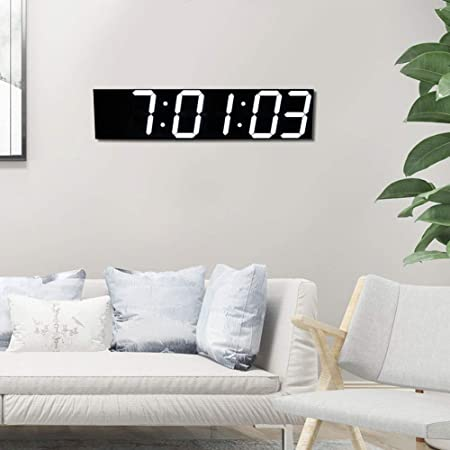 Oyunngs Reloj de Pared Digital LED, Control Remoto Reloj de Pared Grande de 6 dígitos Reloj electrónico doméstico para Oficina Hogar Hotel Habitación Grande(Blanco): Amazon.es: Hogar