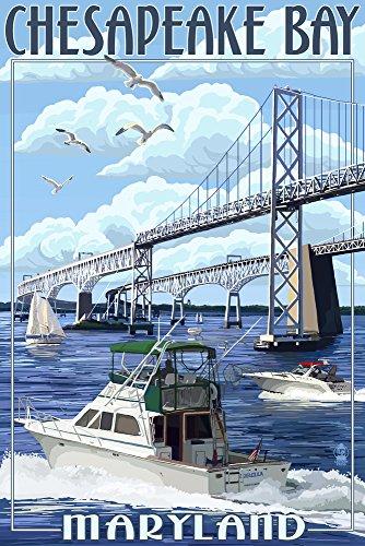 Maryland - Chesapeake Bay Bridge (9x12 Art Print, Wall Decor Travel Poster)