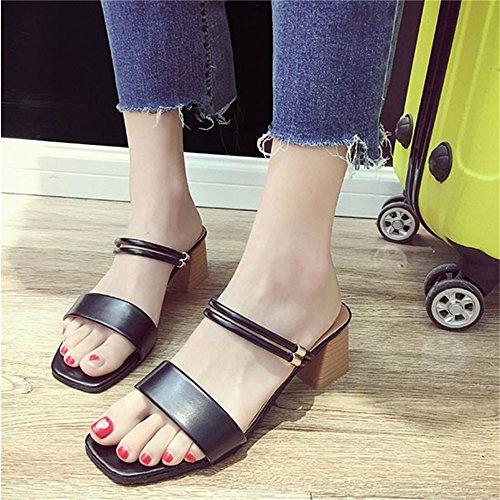 HIGN Verano de Casual Zapatos Aire Black Plataforma al Libre Deslizante Suela con Antideslizante Talón Cuña Gruesos Zapatillas Gruesa de Sandalias xBqZxwv