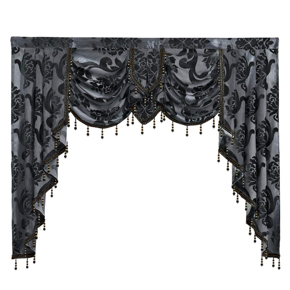 "NAPEARL European Style Luxury Waterfall Valance Living Room Window Decoration (1 Valance 61""Wx49""L, Black)"