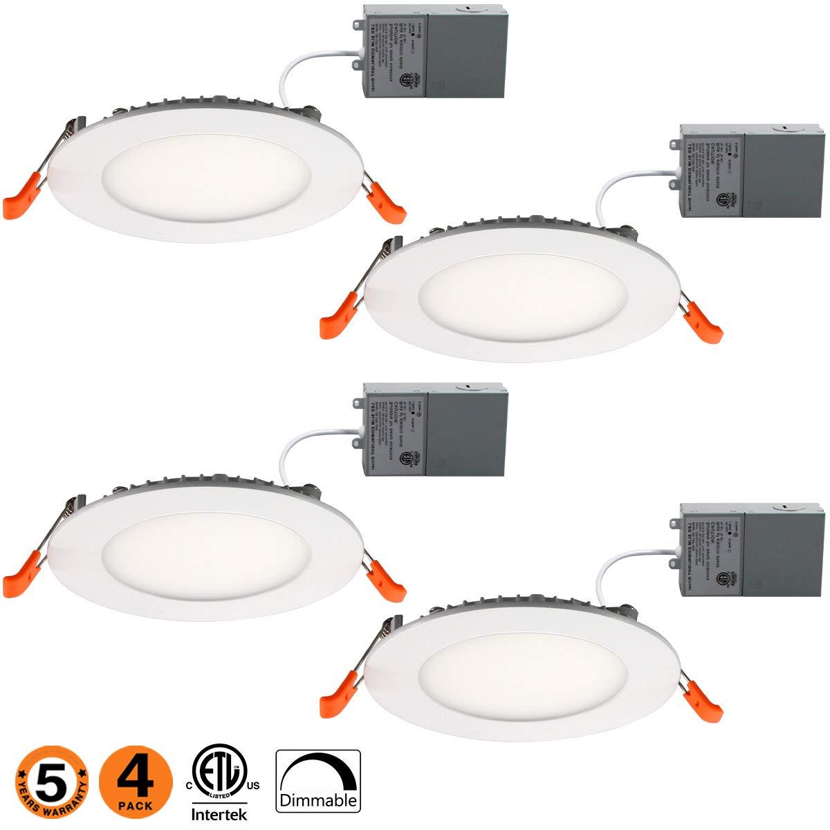 Slim Led Downlight 4 Inch 9W Dimmable (65W Equivalent) ETL Listed 650LM 5000K Junction Box Recessed Lighting E-4PK-50k