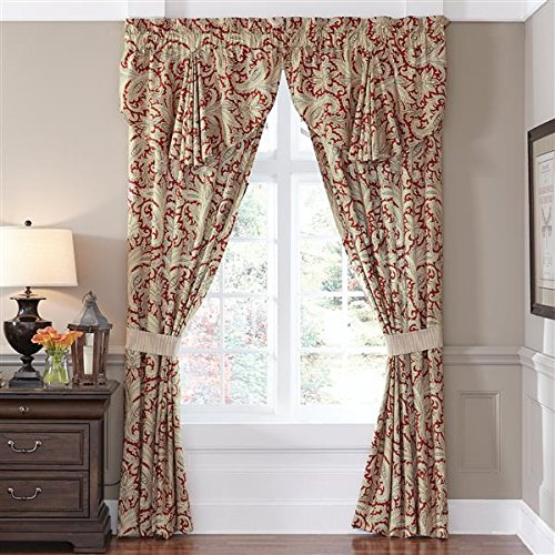 Croscill Leela Paisley Pole-Top Window Drapery Curtain Panel Set, Red and Gold, 82