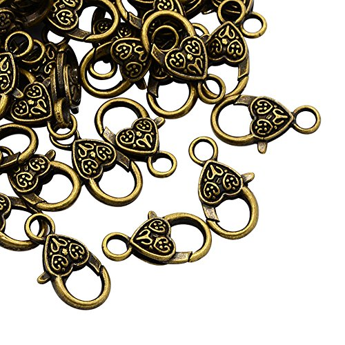 NBEADS 50 Pcs Antique Bronze Tibetan Style Heart Lobster Claw Clasps Lead & Nickel & Cadmium Free Jewelry Making Findings ()