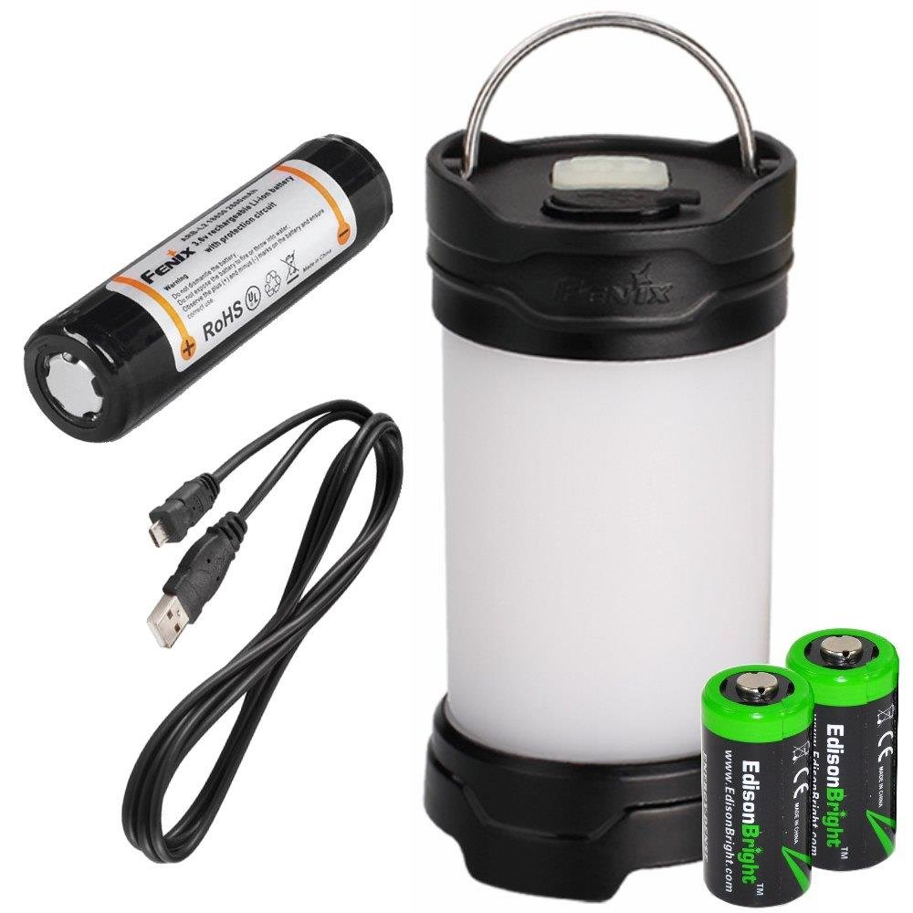 EdisonBright Fenix CL25R 350 lumen USB rechargeable camping lantern/work light (Black body), 18650 rechargeable battery with Two back-up use CR123A Lithium Batteries by EdisonBright