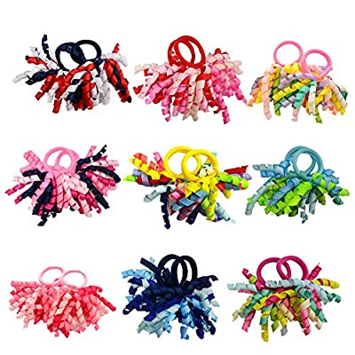 PIDOUDOU Pack of 18 Boutique Girls' Curly Korker Hair Bow Ties Kids Ponytail Holder