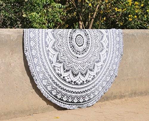 Round Black And White Ombre Mandala tapestry hippie tapestry gypsy wall hanging indian boho cotton table cloth beach towel round meditation yoga mat by Hippistry Hub(GREY)