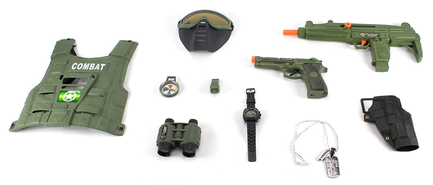 Combat Force Army Friction Toy Gun Complete Combo Set W Lotong L1 Bluetooth Headset Smg Vest Mask Dog Tags Pistol Holster Binoculars Whistle