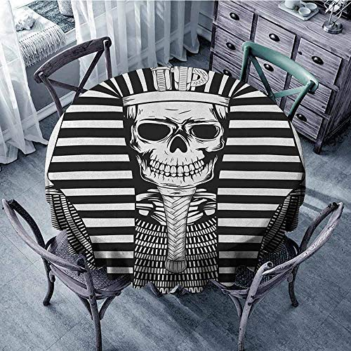 ScottDecor Camping Round Tablecloth Outdoor Picnics King,Egyptian Pharaoh Ruler Mummy Skull Skeleton Statue for Ancient Egypt Lovers Print, Black and White Diameter 70