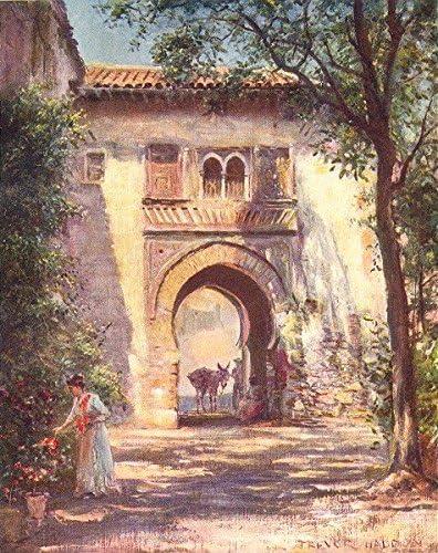 España. granada-puerta del vino, Alhambra – 1908 – Old Print – Antique print – España, diseño de Vintage Art Prints: Amazon.es: Hogar