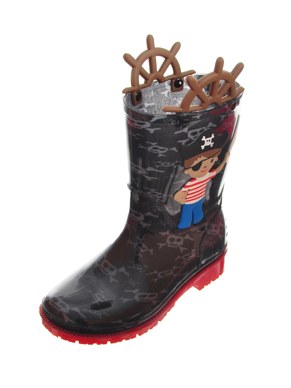 Splash Me Boys' Rubber Rain Boots - Black, 5 Toddler