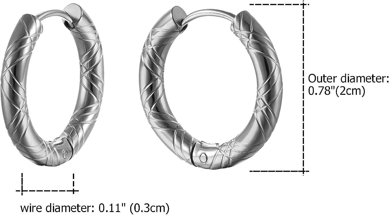 Lot de 3 paires de clous doreilles en acier inoxydable pour homme Noir OIDEA Punk Rock vintage Boucles doreilles cr/éoles Huggie Piercing oreille Diam/ètre 10 mm