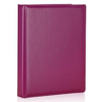 LiLan Archivador 3 anillas,archivadores con anillas A4, imitación piel (Púrpura): Amazon.es: Oficina y papelería