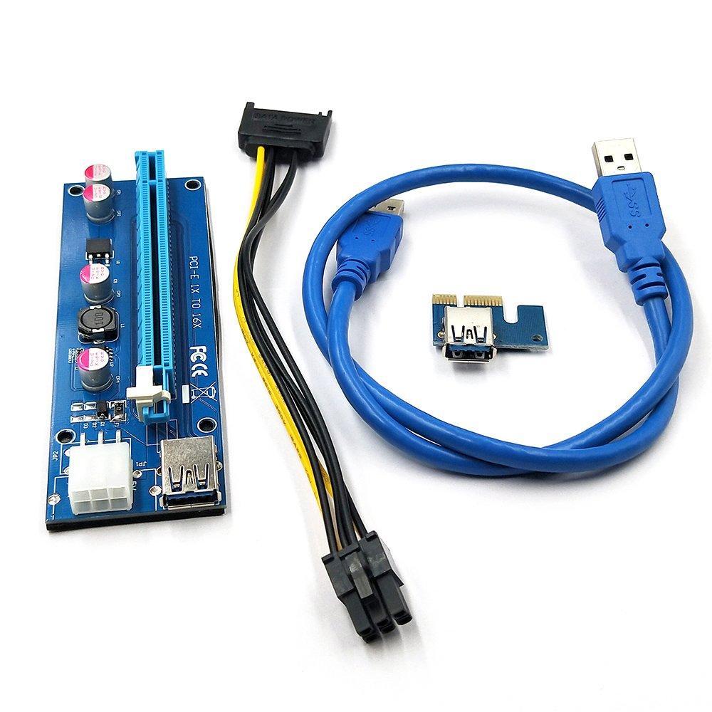 KKmoon PCI - E 6ピンライザーカード1 x to 16 x USB 3.0ケーブル6ピンUSBライザーBitcoin用マイニング B0776NQG66
