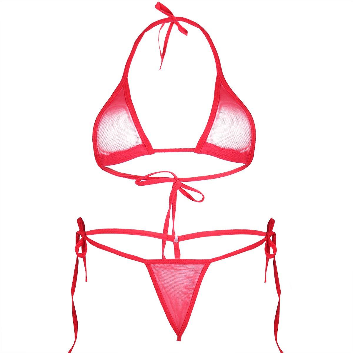 iEFiEL Women Micro G-String Bikini 2 Piece Sliding Top Thong Small Bra (Mesh Red)