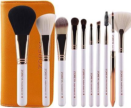 ZOREYA 15Pcs Juego de brochas de maquillaje de lujo con estuche de cuero vegano Easy Travel Pinceles de maquillaje profesionales (amarillo) ESjasnyfall: Amazon.es: Belleza