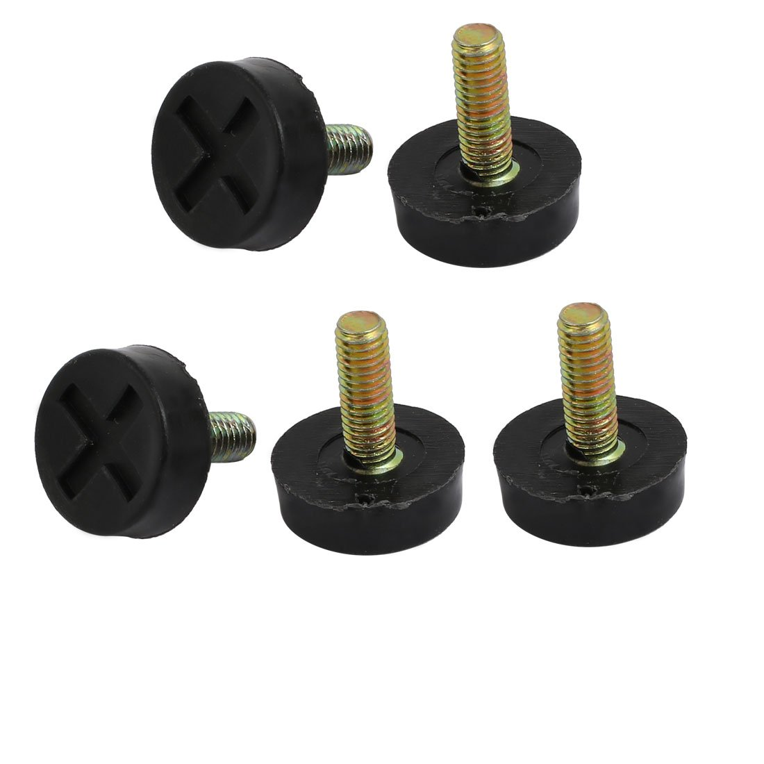 uxcell 5pcs M6x17mm Threaded 22mm Dia Plastic Base Adjustable Leveling Foot Black